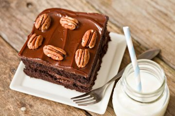 Chocolate brownie with glass of milk